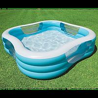 Детский надувной квадратный бассейн с окошечками INTEX 57495