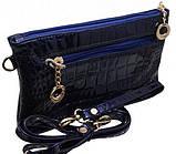 Дешевые женские клатчи 15*25 (черный,синий лак) , фото 3