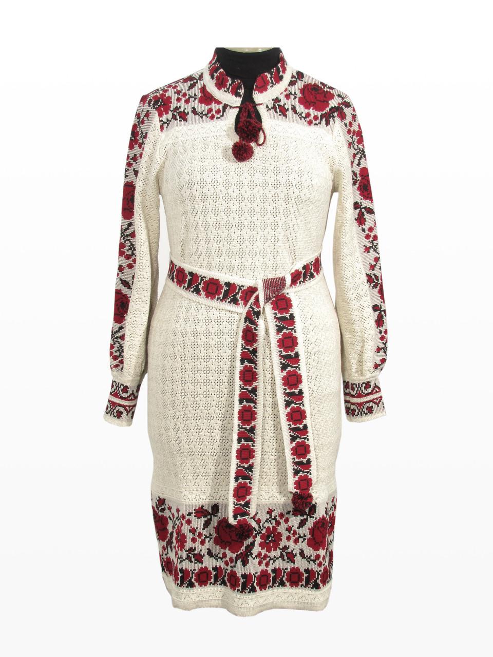 Вязаное платье Роза с бутоном красная в2