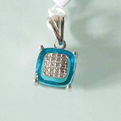 """Кулон серебряный """"Сапфировый подарок"""" квадратное обрамление"""