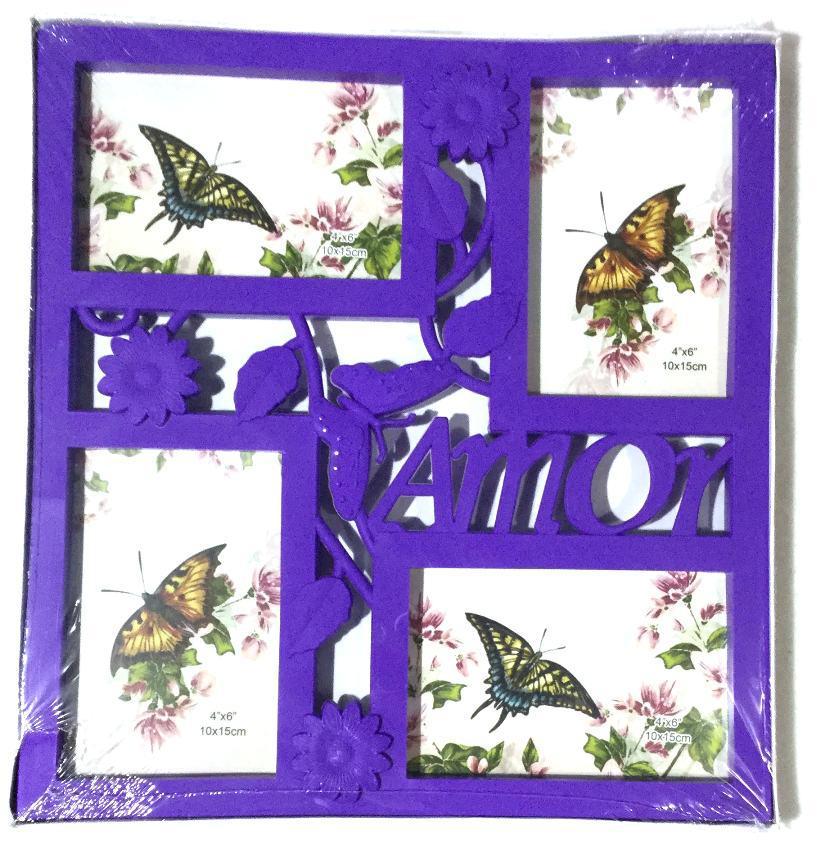 Фоторамка коллаж на 4 фото Бабочка цветная