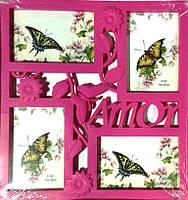 Коллаж на 4 фото Бабочка розовая