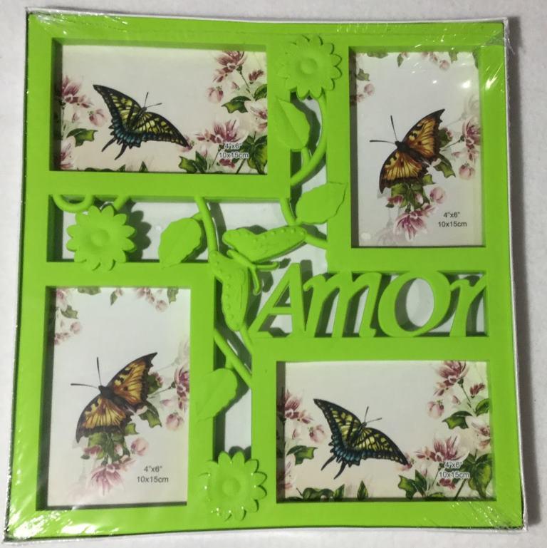 Коллаж на 4 фото Бабочка зеленая