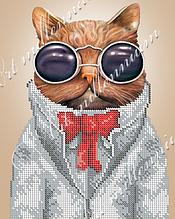 """Схема для вышивки бисером  W-526 """"Кот в очках"""""""