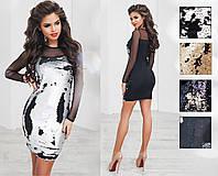 Платье трикотажное, двусторонняя пайетка, сетка, размер 42-46