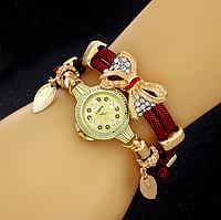 331кр - Наручные часы женские с красным ремешком Золотая бабочка