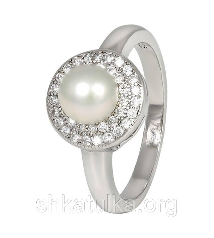 Серебряное кольцо с жемчугом КК2ФЖ/414 - 15,9