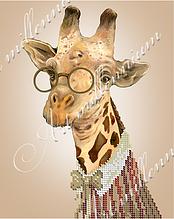 """Схема для вышивки бисером  W-527 """"Интеллигентный жираф"""""""