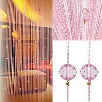 Шторы нити  белые с алмазными бусинами розовые