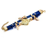 331син - Наручные часы женские с синим ремешком Золотая бабочка