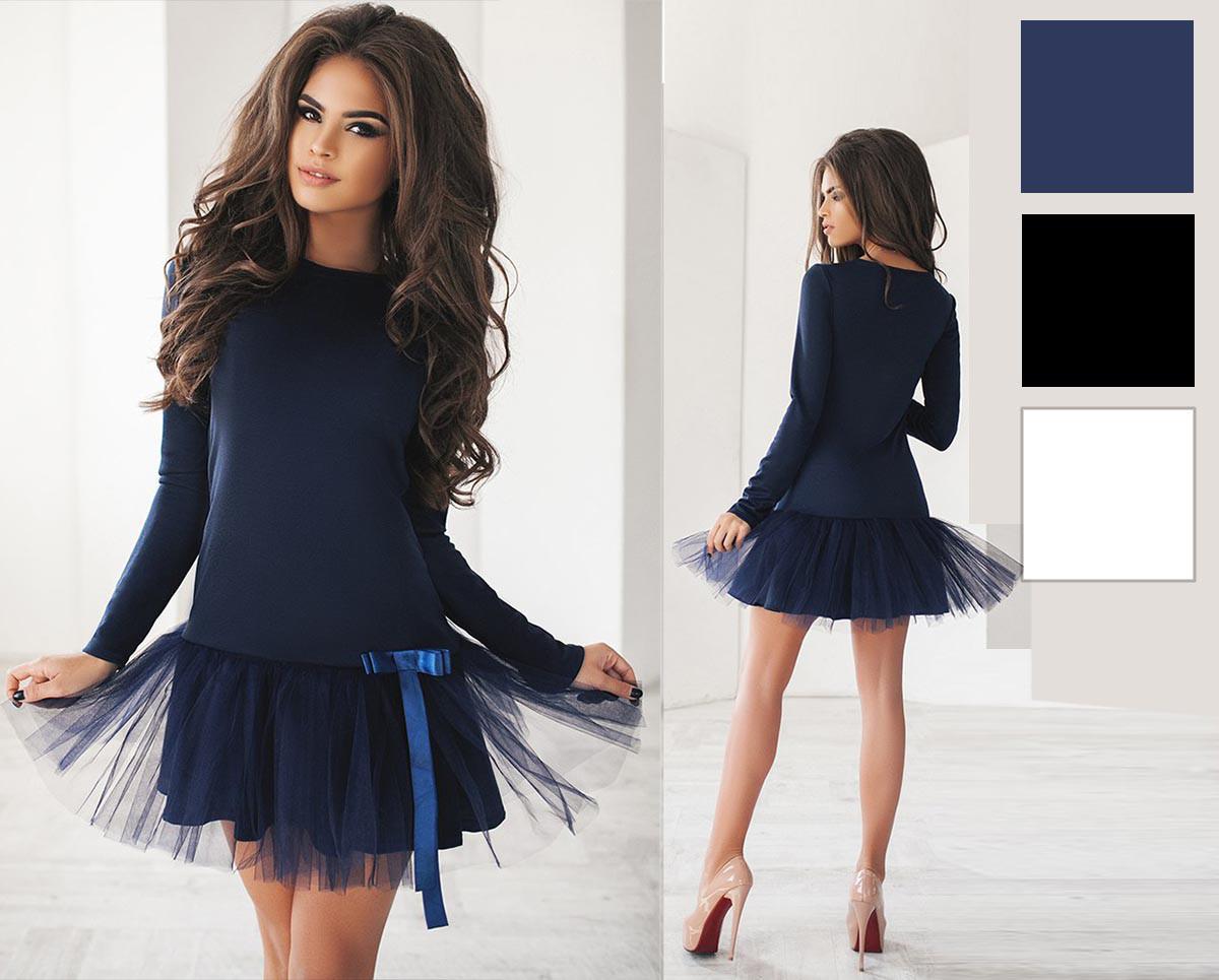 7c4c7bd3333cd74 Купить Платье французский трикотаж с фатином, размер 42-46 в ...
