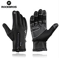 Теплые перчатки RockBros зима / осень / весна (-10 - 0 град.) (BLACK)