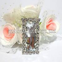 Клеевой  декор  в стразовой окантовке, 25х13 мм, цвет камня белый, прозрачный