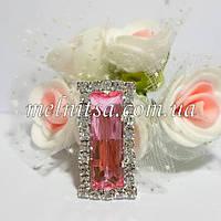 Клеевой  декор  в стразовой окантовке, 25х13 мм, цвет камня розовый