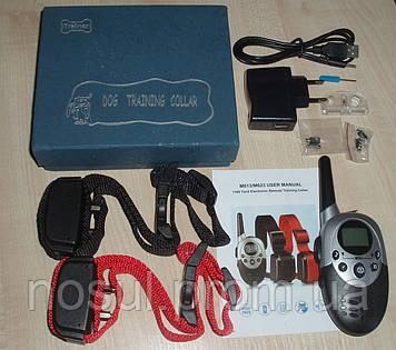 Электронный ошейник на 2 собаки, дрессировочный для собак, до 1000м (вибро + эл.стат + LED пульт ДУ)