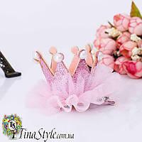 Заколочка детская корона розовая Королева принцеса для день рождения на годик