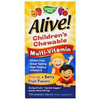 Nature's Way, Alive! Детские жевательные мультивитамины со вкусом апельсина и ягод, 120 жевательных таблеток