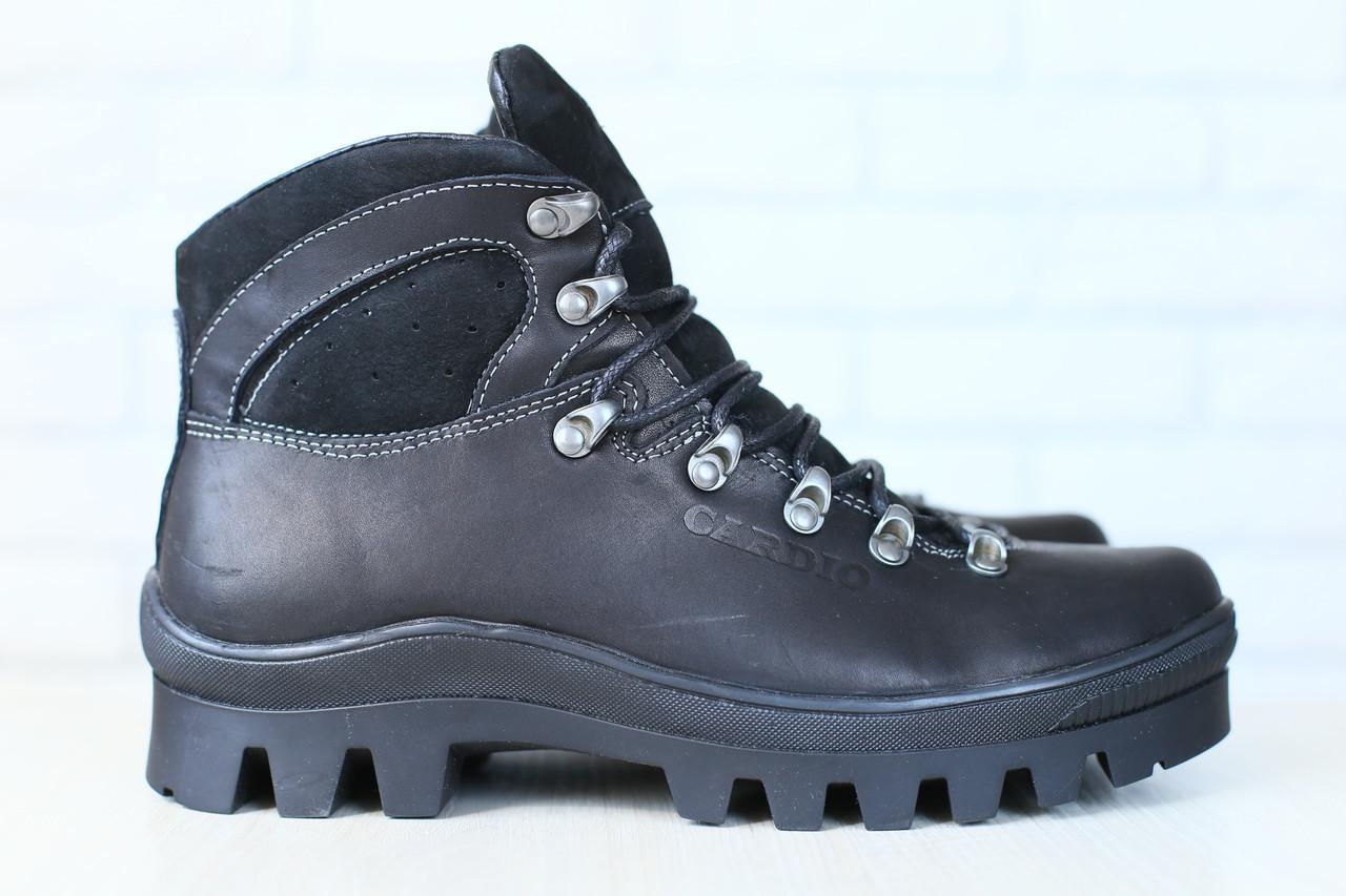 Мужские спортивные зимние ботинки, на меху, кожаные, черные - Интернет магазин Family Fashion Оптом и в розницу в Киеве