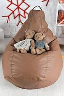 Кресло мешок груша XL кожаное Латте1 20х75 XL
