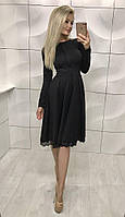 Элегантное платье французский трикотаж. Артикул: 369_black