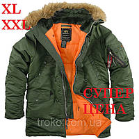 Мужская зимняя парка Alpha Industries Slim Fit N-3B Parka Green XXL
