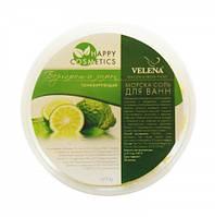 Тонизирующая соль для ванн с эфирными маслами Бергамота и Лимона VELENA, 600 г