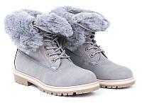 Зимние, женские ботинки из замша серого цвета размеры 39, фото 1
