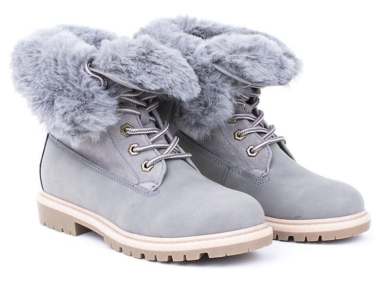 Зимние, женские ботинки из замша серого цвета размеры 39