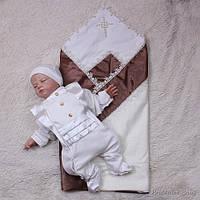 """Крестильный набор """"Жемчужный"""" для мальчика (шоколад/молоко)"""