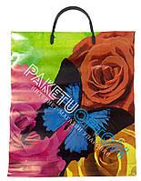 """Пакет с пластиковой ручкой (пакет-пластик) """"Розы и бабочка"""""""
