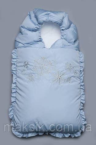 "Зимний конверт на выписку ""Снежинки"" голубой, фото 2"