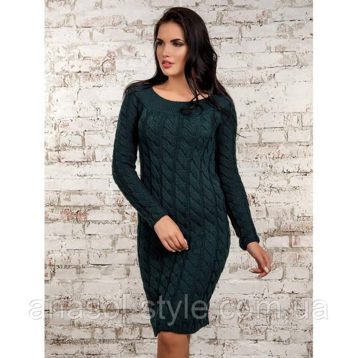 Платье вязаное темно зеленое