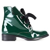 Женские лаковые ботинки на зиму зелёного цвета размеры 37,39