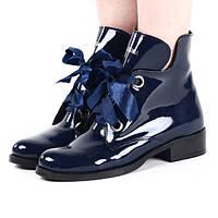 Лаковые зимние ботинки синего цвета по доступной цене размеры 36,39,40