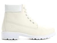 Женские белые, зимние ботинки