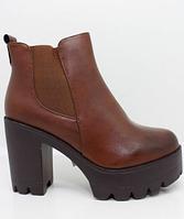 Качественные ботильоны, ботинки коричневого цвета на каблуке и платформе