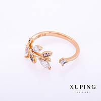 """Кольцо Xuping цвет металла """"золото"""" белые камни 2мм без р-р"""