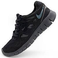 Кроссовки для бега Nike Free Run 2 Найк Фри Ран, палностью черные р.(42, 44, 45)
