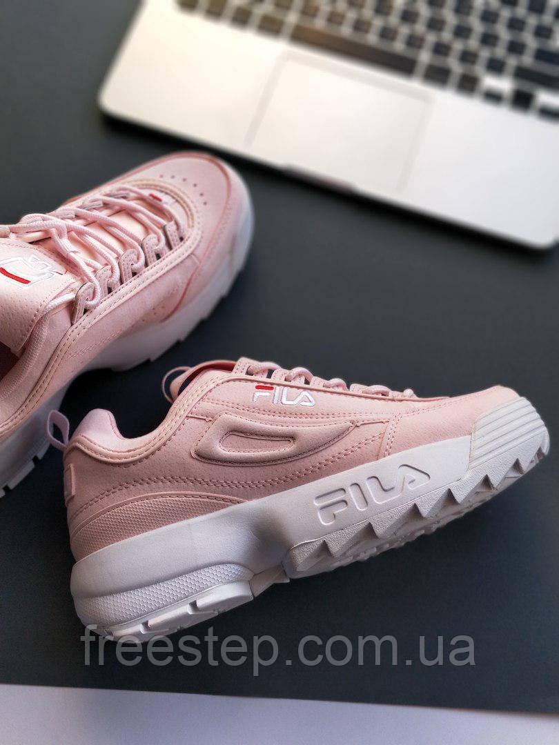 Женские кроссовки в стиле Fila Disruptor 2 розовые кожа  продажа ... 3d1e6d8b4469c