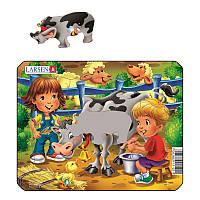 Пазл-вкладыш Ферма. Дети и корова, серия МИНИ, Z11-3, Larsen, фото 1