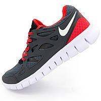Кроссовки для бега Nike Free Run 2 Найк Фри Ран, серо-красные - Реплика р.(42, 43)