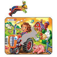 Пазл-вкладыш Ферма. Маленький тракторист, серия МИНИ, Z11-2, Larsen, фото 1