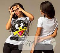 Белая футболка с принтом DM-2386