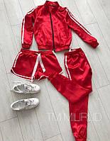 Новинка 2018 Атласный костюм  набор тройка штаны шорты кофта красный 42-44 44-46