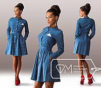 Джинсовое платье в горошек DM-4953