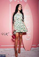 Легкое летнее шифоновое женское платье с принтом нежной цветовой гаммы.  Арт-19054