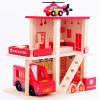 Деревянная игрушка Гараж MD 1059-2 Пожарная, 2 этажа,транспорт,в кор-ке,39-28-8см