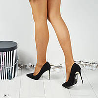 Стильные черные туфли- лодочки на каблуке с золотистой вставкой. Материал   эко замша. a72362e1dab45
