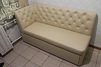 Светло-бежеый кухонный раскладной диванчик со спальным местом в маленькую кухню