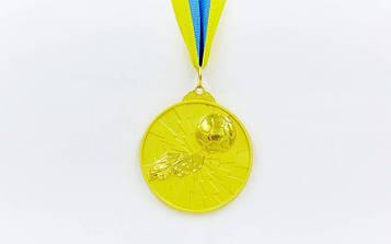 Медаль спортивна зі стрічкою Футбол 6,5 см (метал, покриття 2 тони, 56g золото, срібло, бронза)10шт)